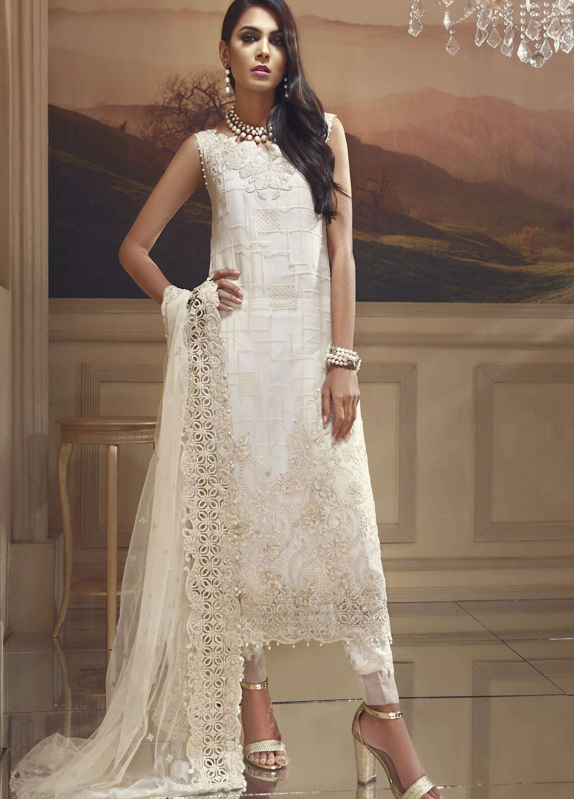 Anaya by Kiran Chaudhry Embroidered Organza Unstitched 3 Piece Suit AKC18W 07 - Wedding Edition