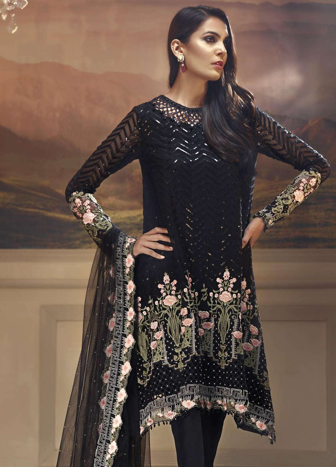 Anaya by Kiran Chaudhry Embroidered Chiffon Unstitched 3 Piece Suit AKC18W 08 - Wedding Edition