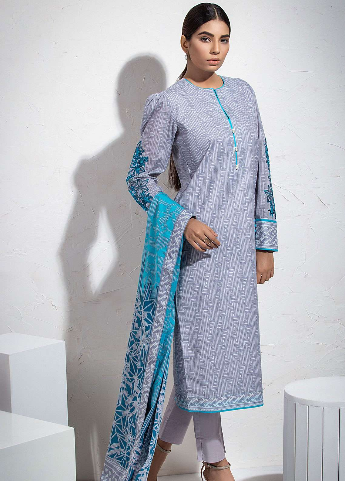 95c4711854 Al Karam Embroidered Lawn Unstitched 3 Piece Suit AK19L SS-39.1-19 GRey -  Spring / Summer Collection