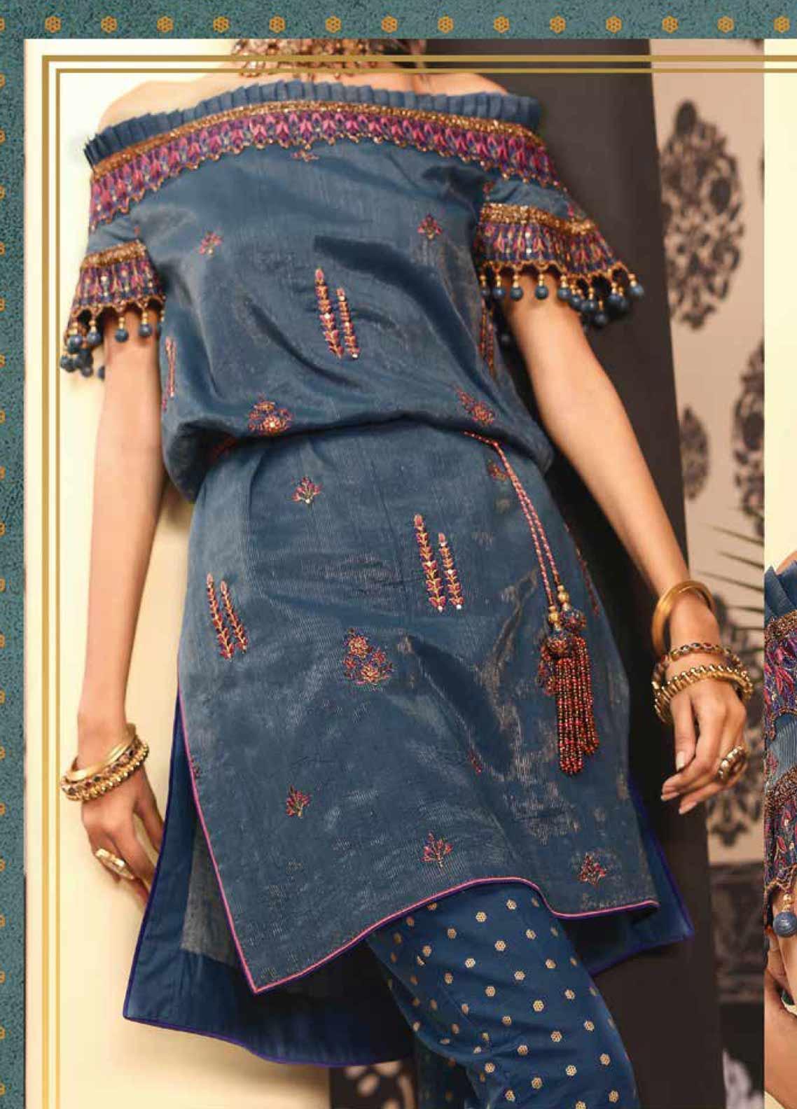 Al Karam Embroidered Cotton Unstitched 2 Piece Suit AK19-F2 11F Blue - Festive Collection
