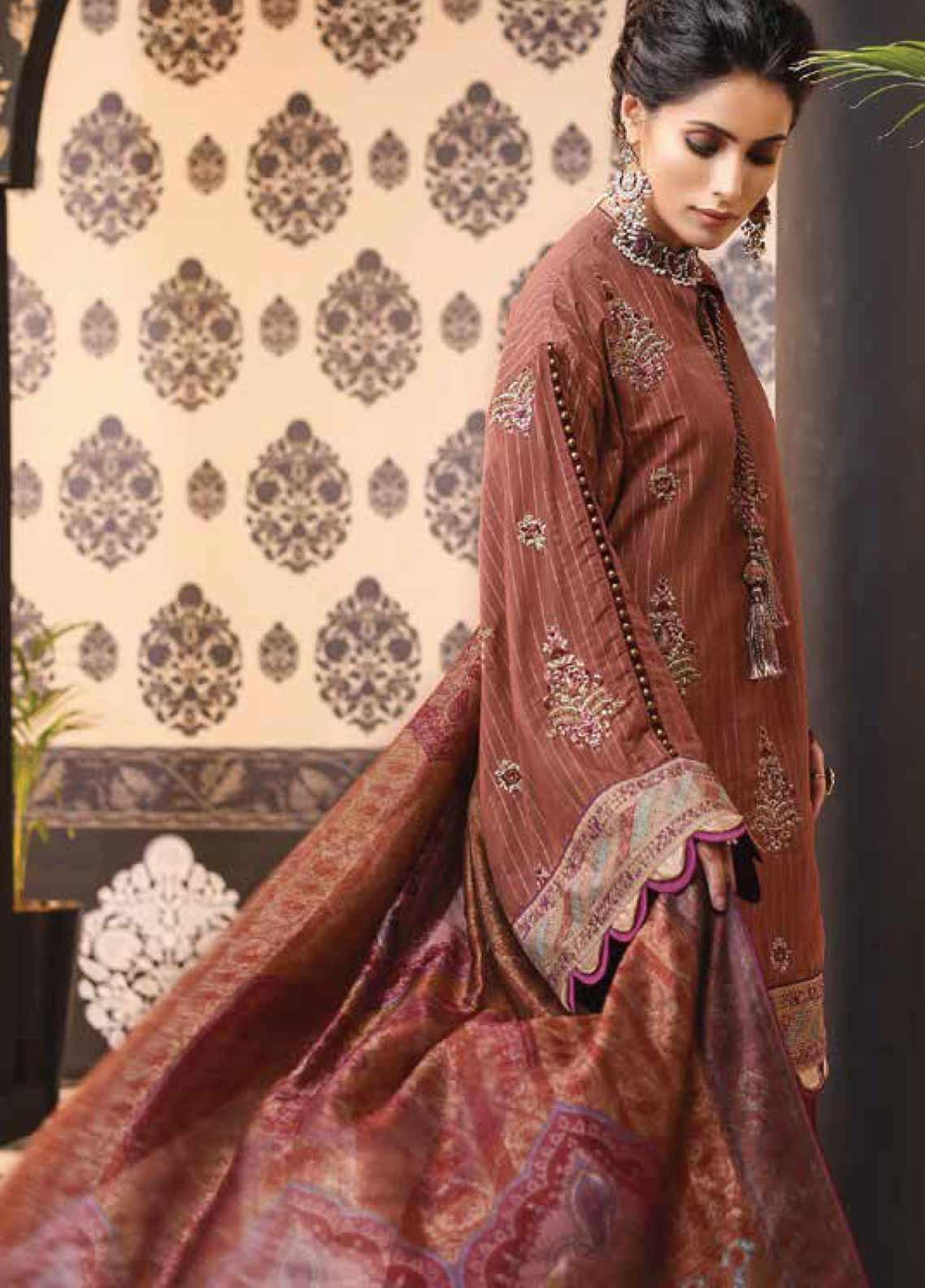 Al Karam Embroidered Cotton Silk Unstitched 3 Piece Suit AK19-F2 12G Brown - Festive Collection