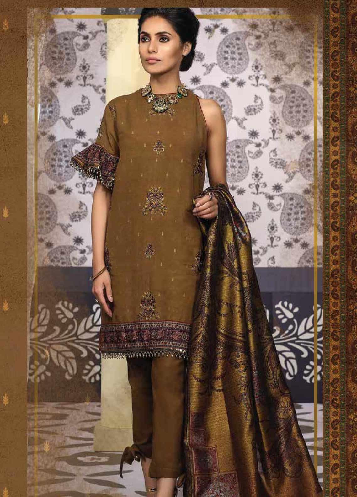 Al Karam Embroidered Cotton Silk Unstitched 3 Piece Suit AK19-F2 13G Brown - Festive Collection