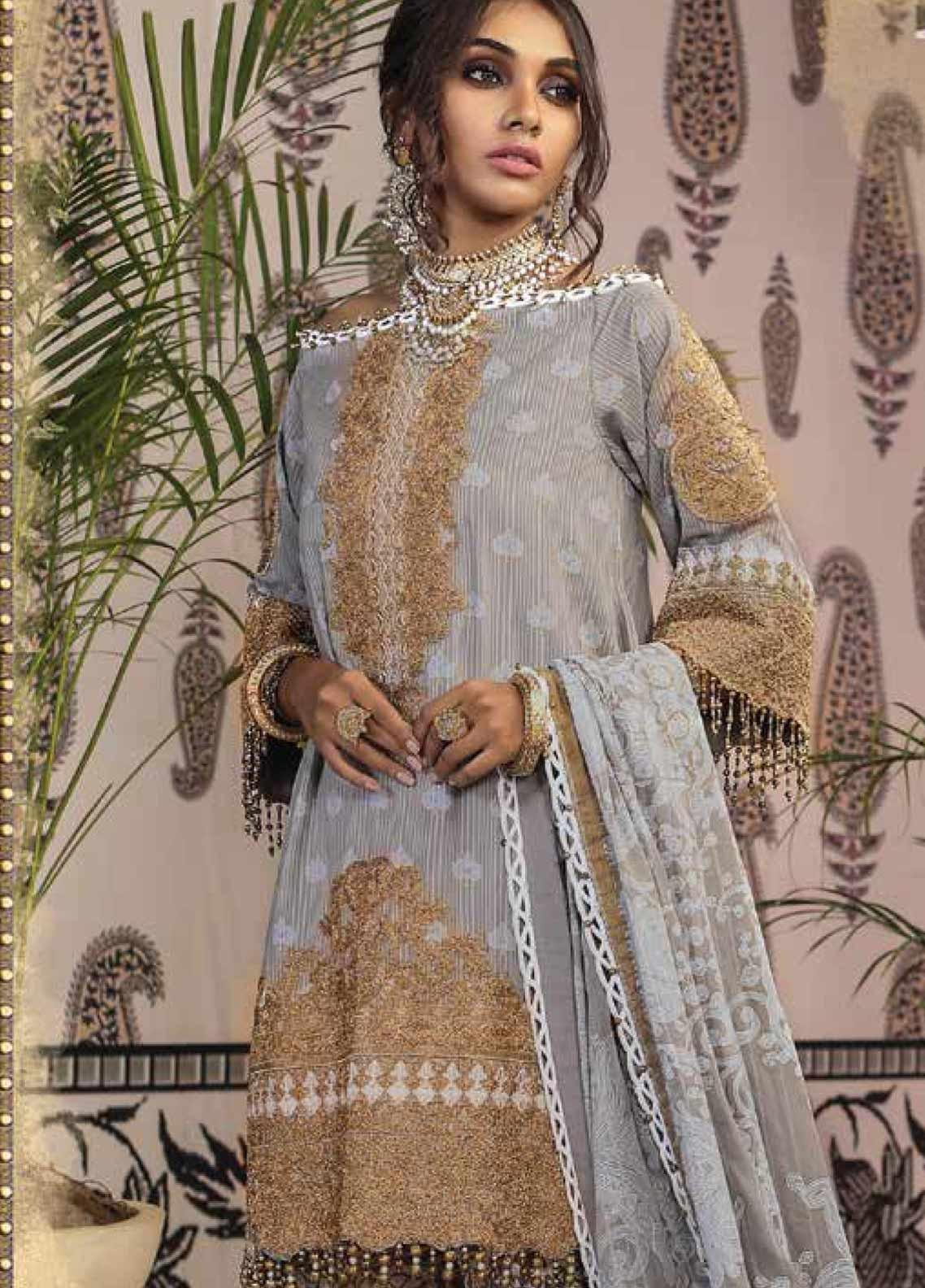 Al Karam Embroidered Broschia Unstitched 2 Piece Suit AK19-F2 15H Grey - Festive Collection