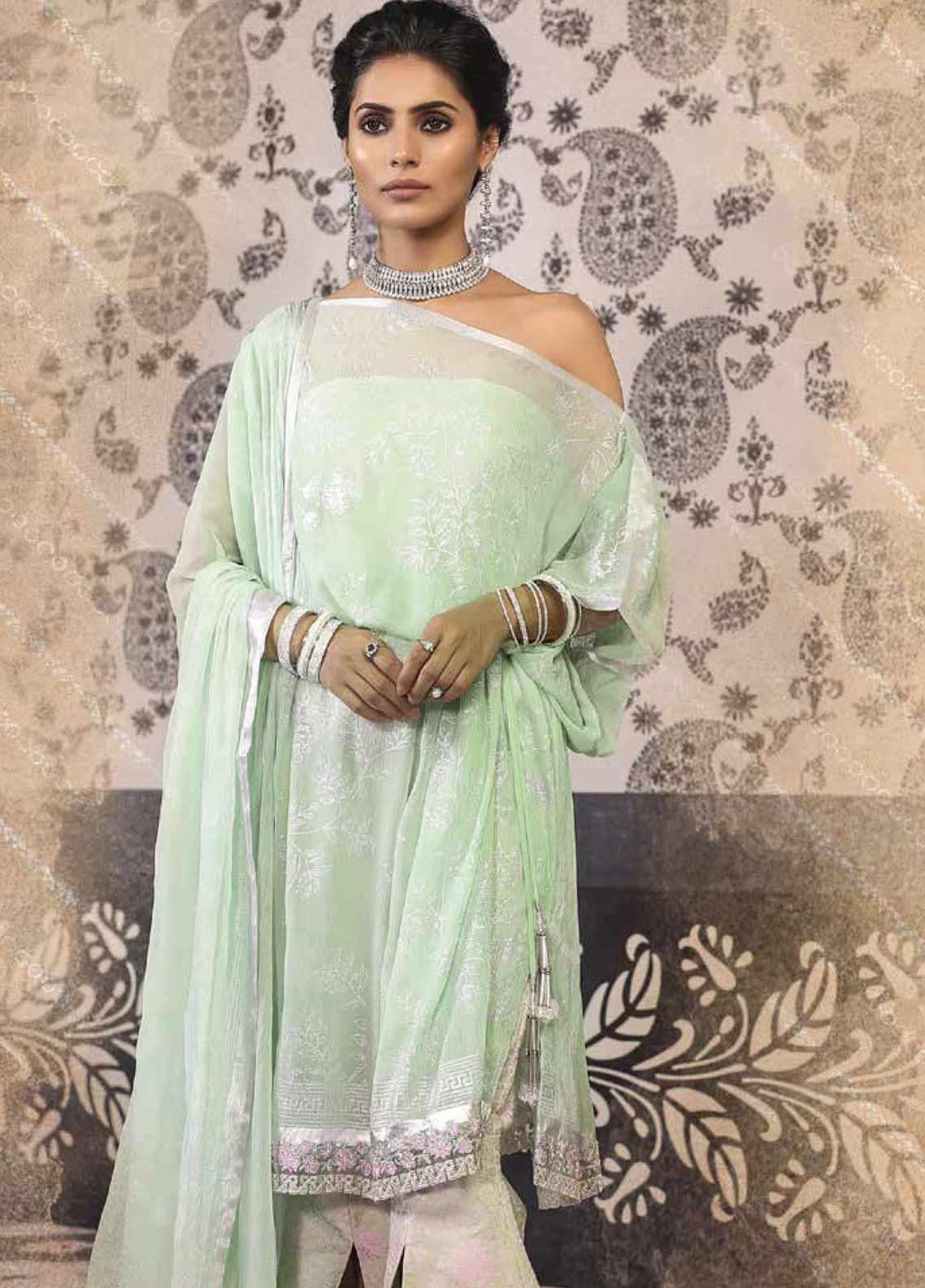 Al Karam Embroidered Cotton Silk Unstitched 2 Piece Suit AK19-F2 4B Green - Festive Collection