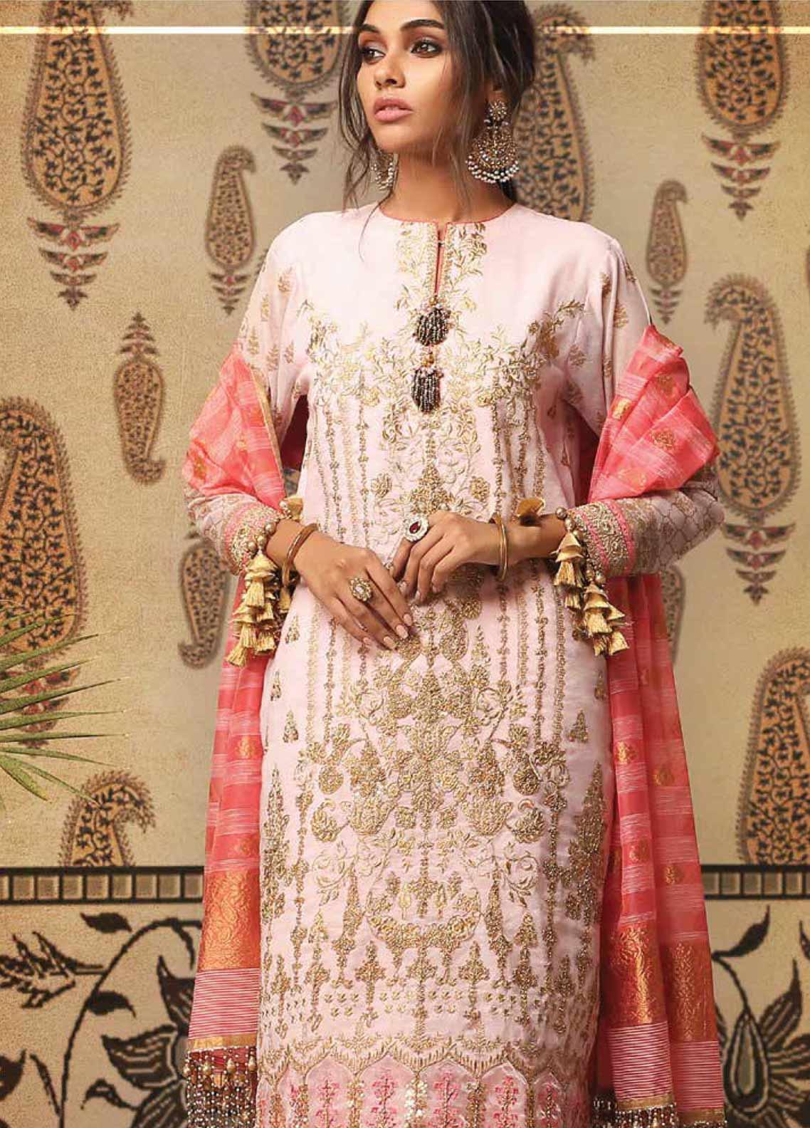 Al Karam Embroidered Cotton Net Unstitched 3 Piece Suit AK19-F2 7D Pink - Festive Collection