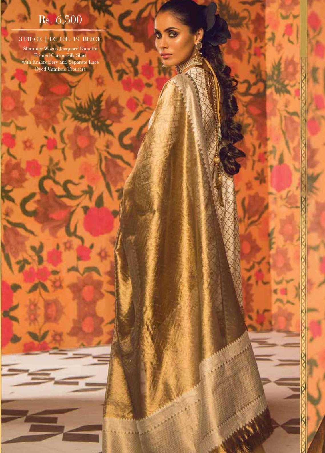 af56bc3d10 Al Karam Embroidered Cotton Silk Unstitched 3 Piece Suit AK19F 10E - Festive  Collection