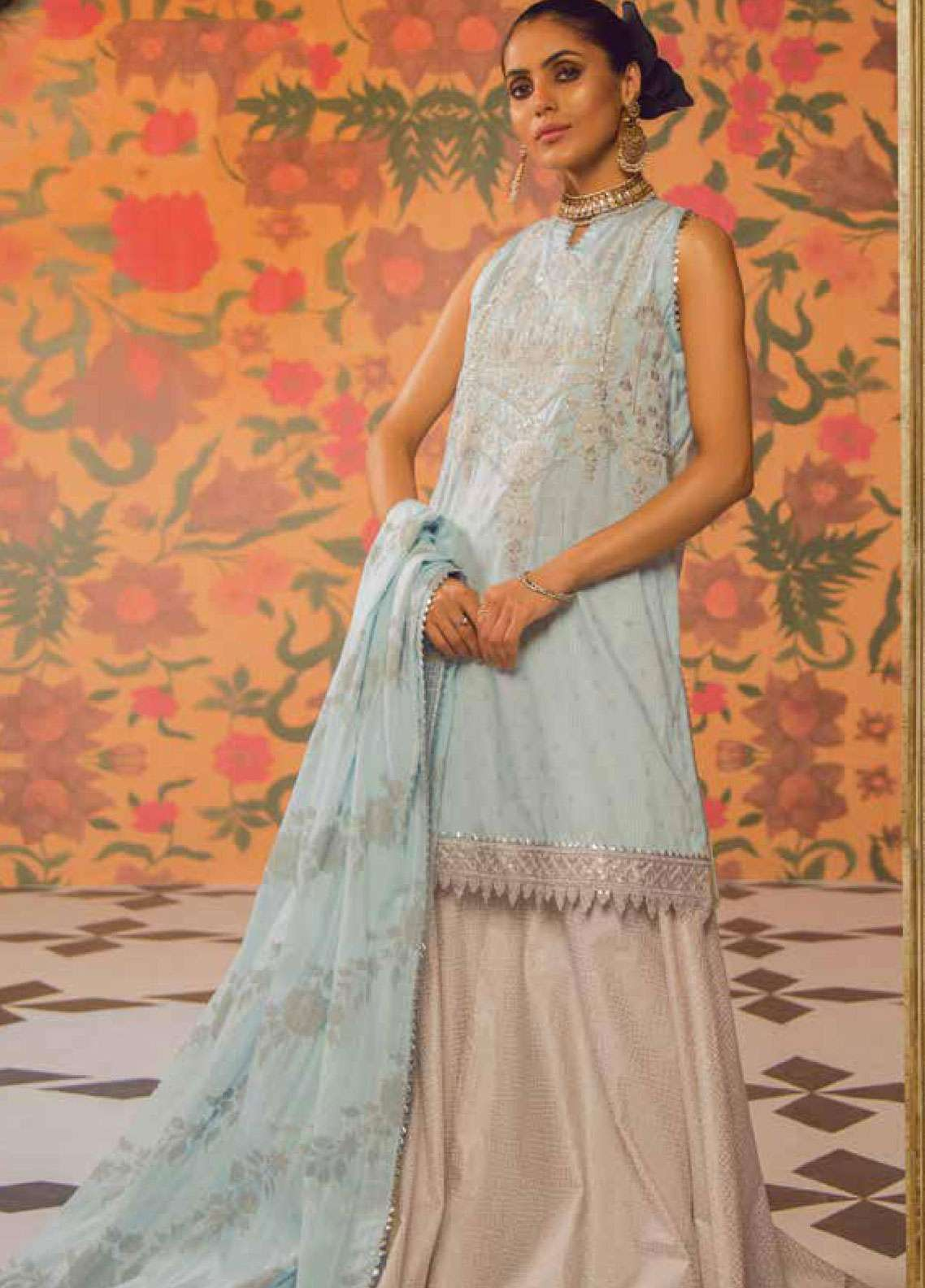 Al Karam Embroidered Broschia Net Unstitched 2 Piece Suit AK19F 11F - Festive Collection