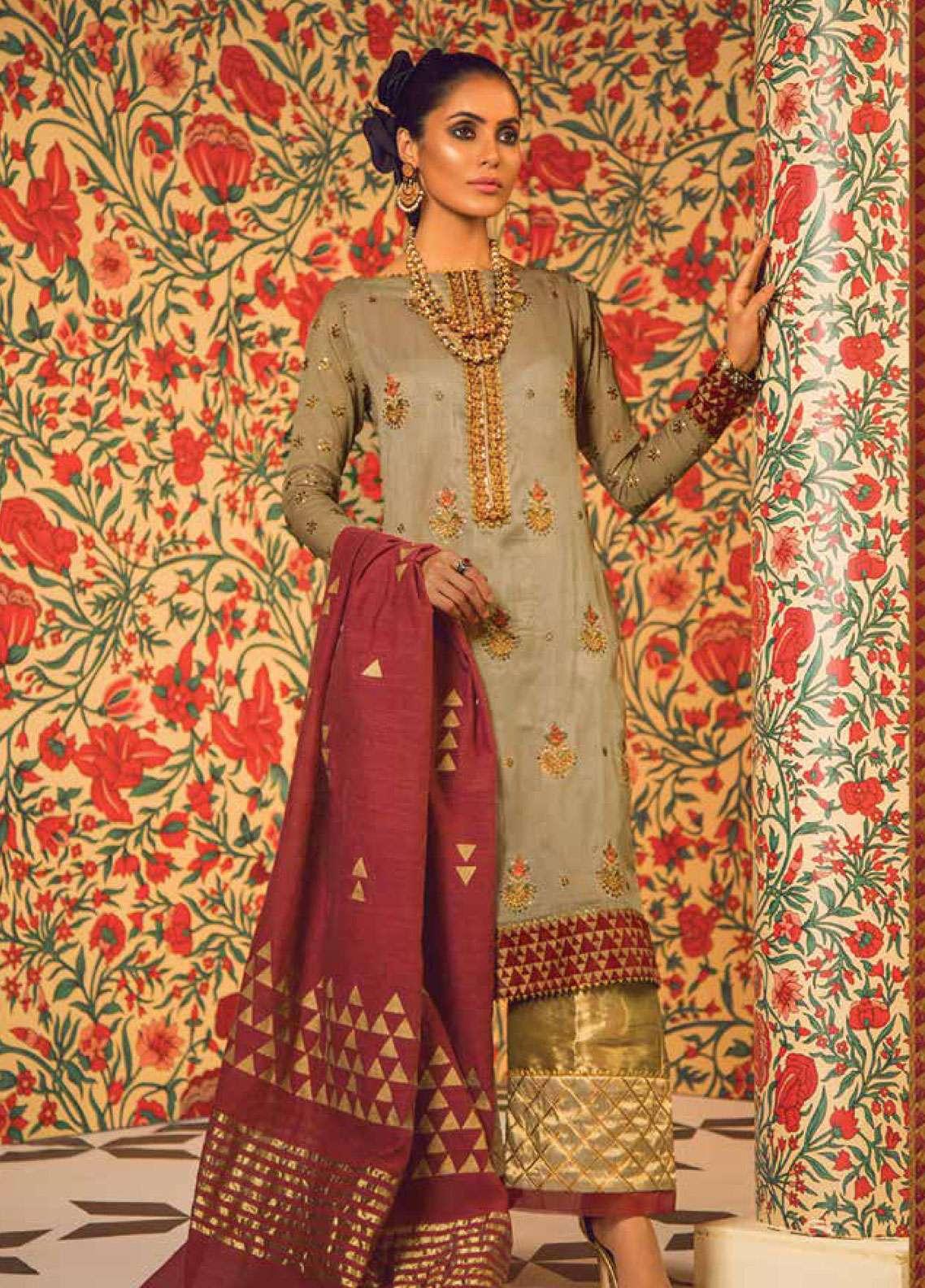 Al Karam Embroidered Zari Net Unstitched 2 Piece Suit AK19F 16H - Festive Collection