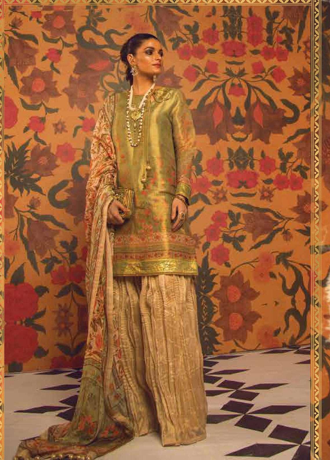 Al Karam Embroidered Zari Net Unstitched 2 Piece Suit AK19F 19J - Festive Collection