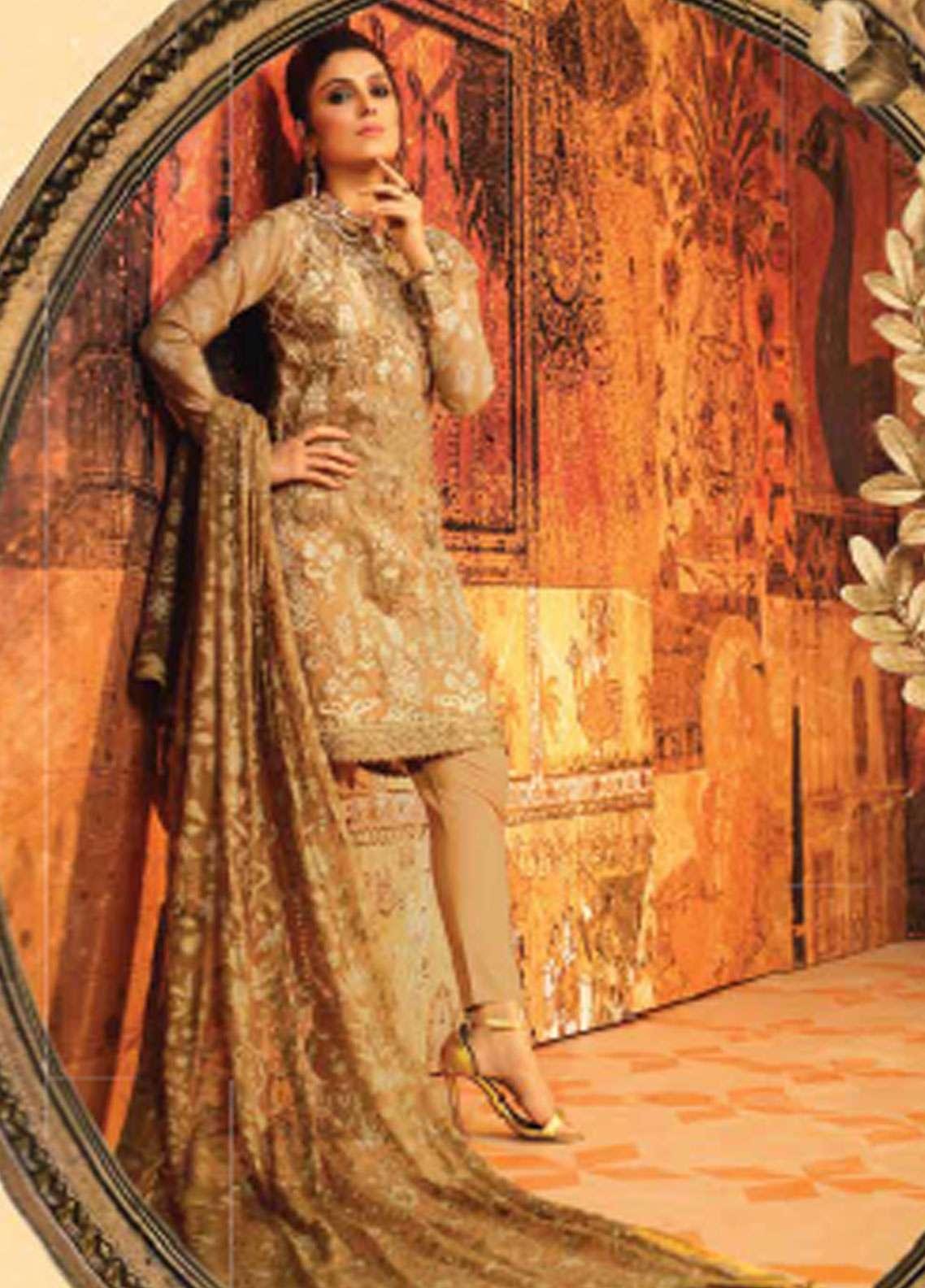 Al Karam Embroidered Cotton Net Unstitched 3 Piece Suit AK19F 4B - Festive Collection