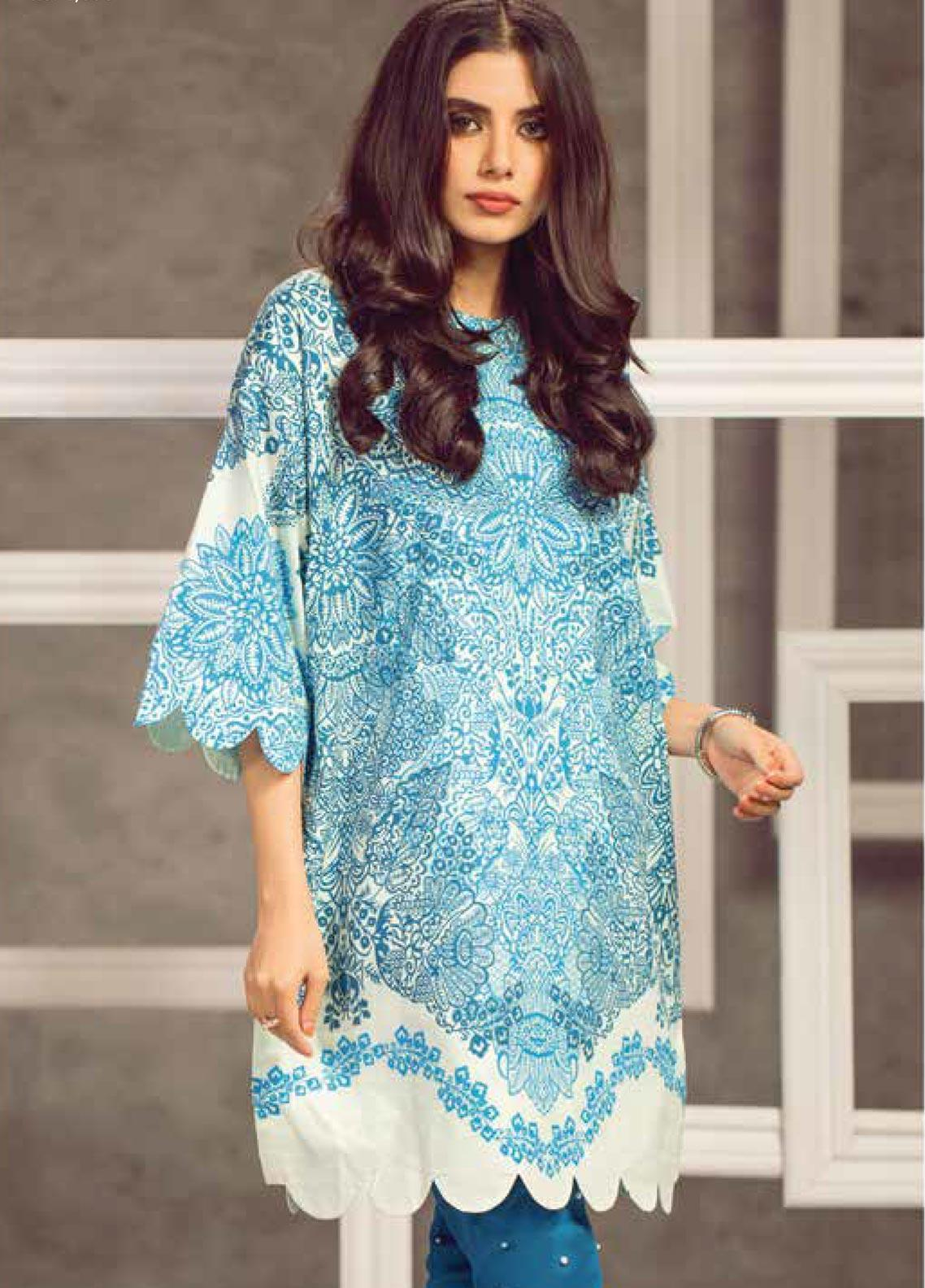 Al Karam Printed Cambric Unstitched Kurties AKI19MS MS 24 19 Blue - Mid Summer Collection
