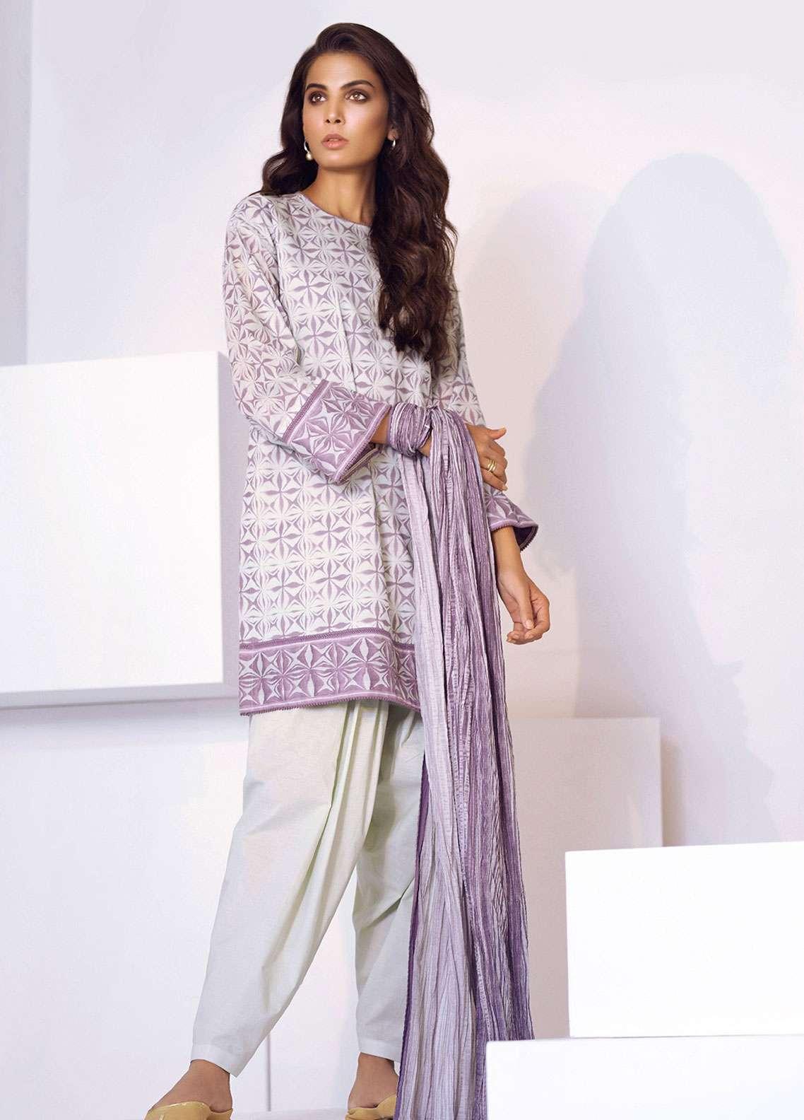 Al Karam Printed Lawn Unstitched 3 Piece Suit AK19L SS-30.1-19 Purple - Spring / Summer Collection