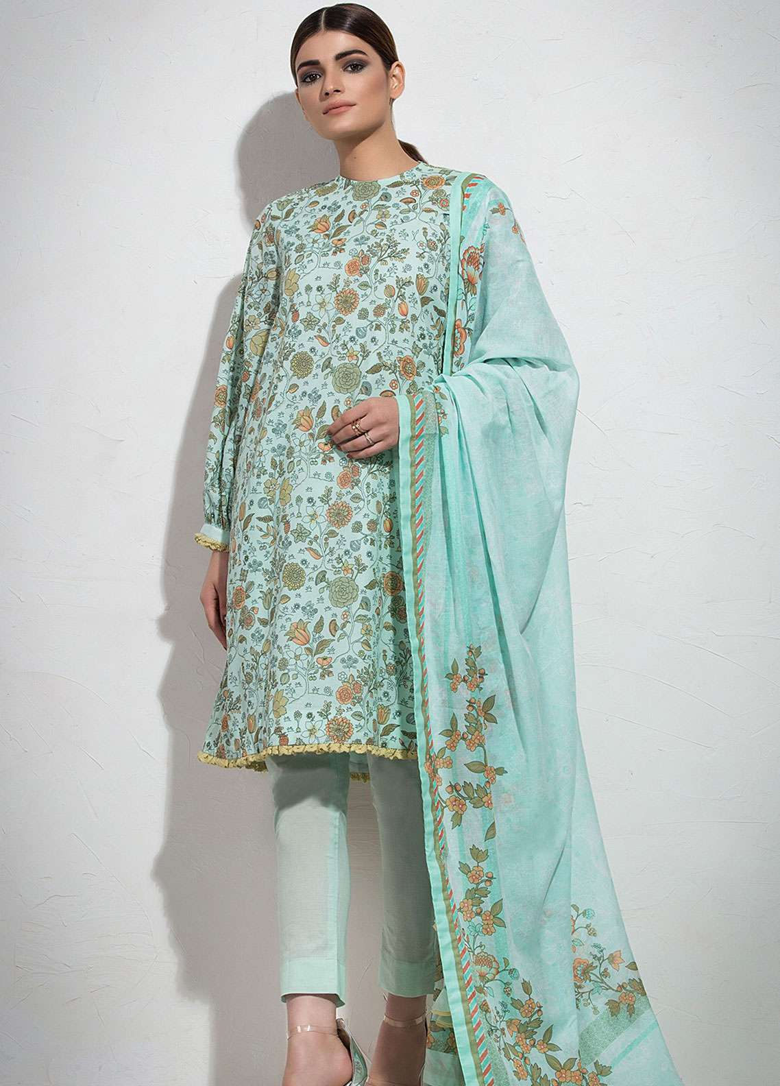 5a64431455 Al Karam Printed Lawn Unstitched 3 Piece Suit AK19L SS-32.1-19 Green -  Spring / Summer Collection