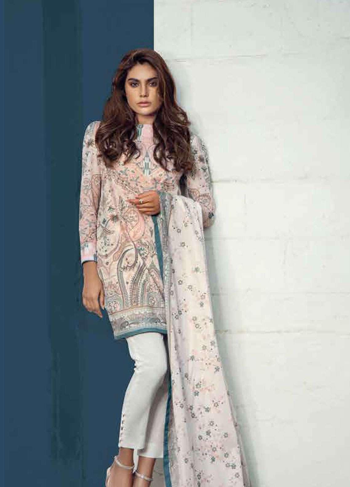 Al Karam Printed Lawn Unstitched 3 Piece Suit AK19L SS-09-19 Beige - Spring / Summer Collection