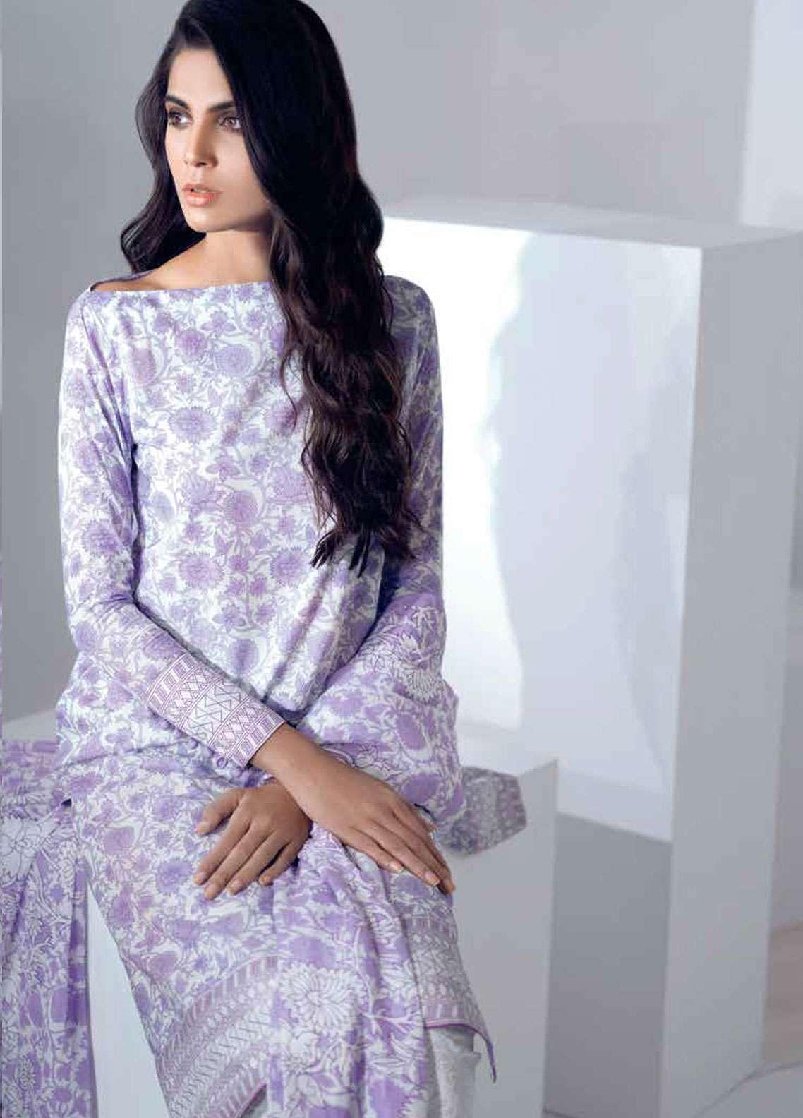 Al Karam Printed Lawn Unstitched 3 Piece Suit AK19L SS-10.1-19 Purple - Spring / Summer Collection