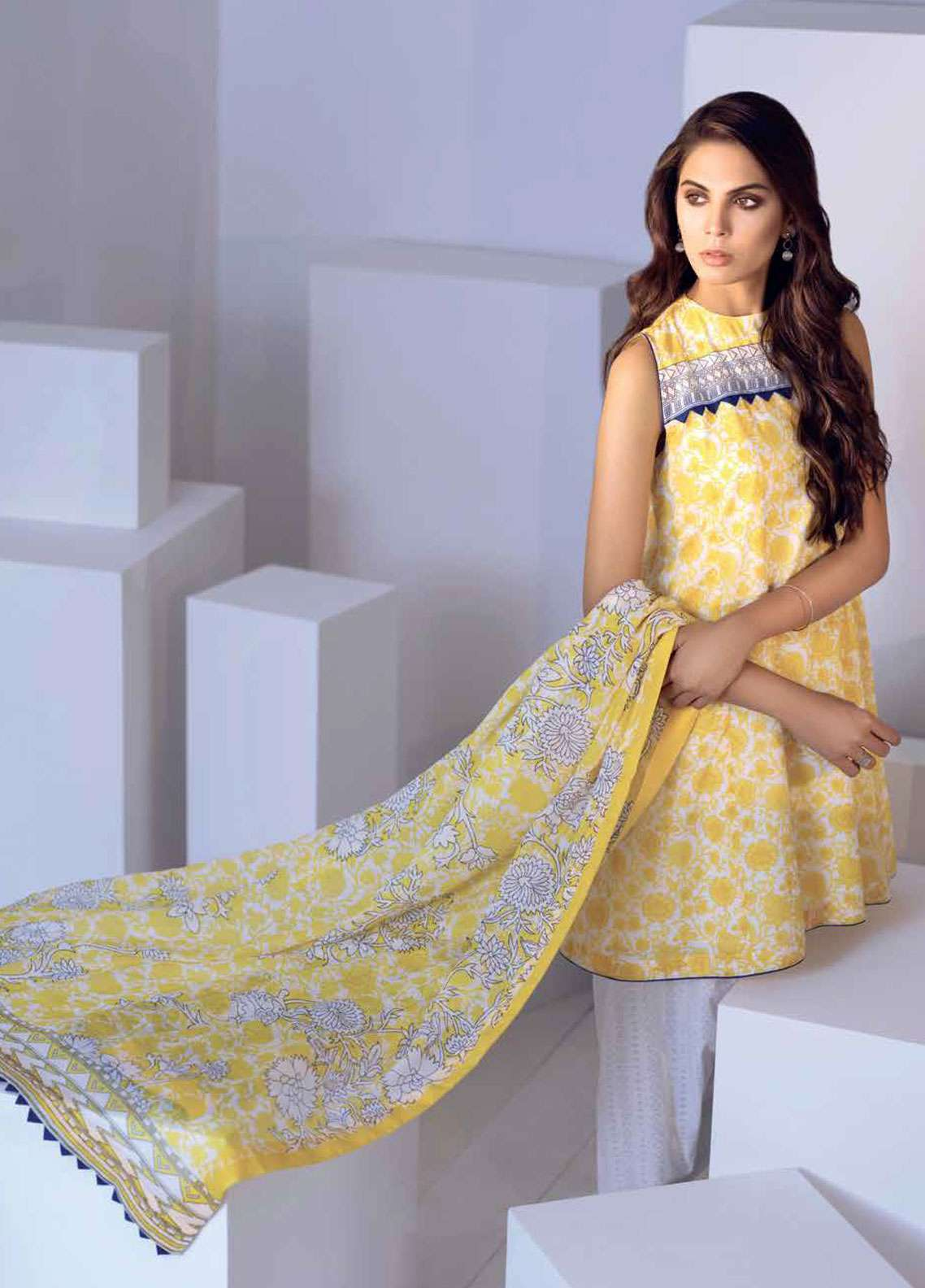 Al Karam Printed Lawn Unstitched 3 Piece Suit AK19L SS-10.1-19 Yellow - Spring / Summer Collection