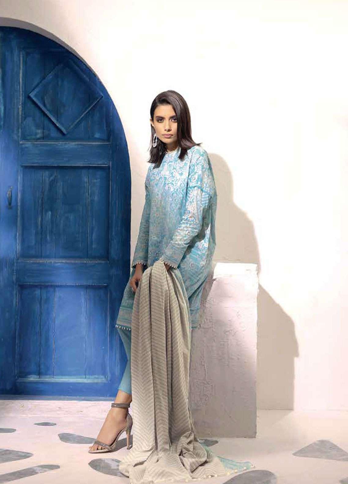 Al Karam Printed Lawn Unstitched 3 Piece Suit AK19L SS-14-19 Blue - Spring / Summer Collection