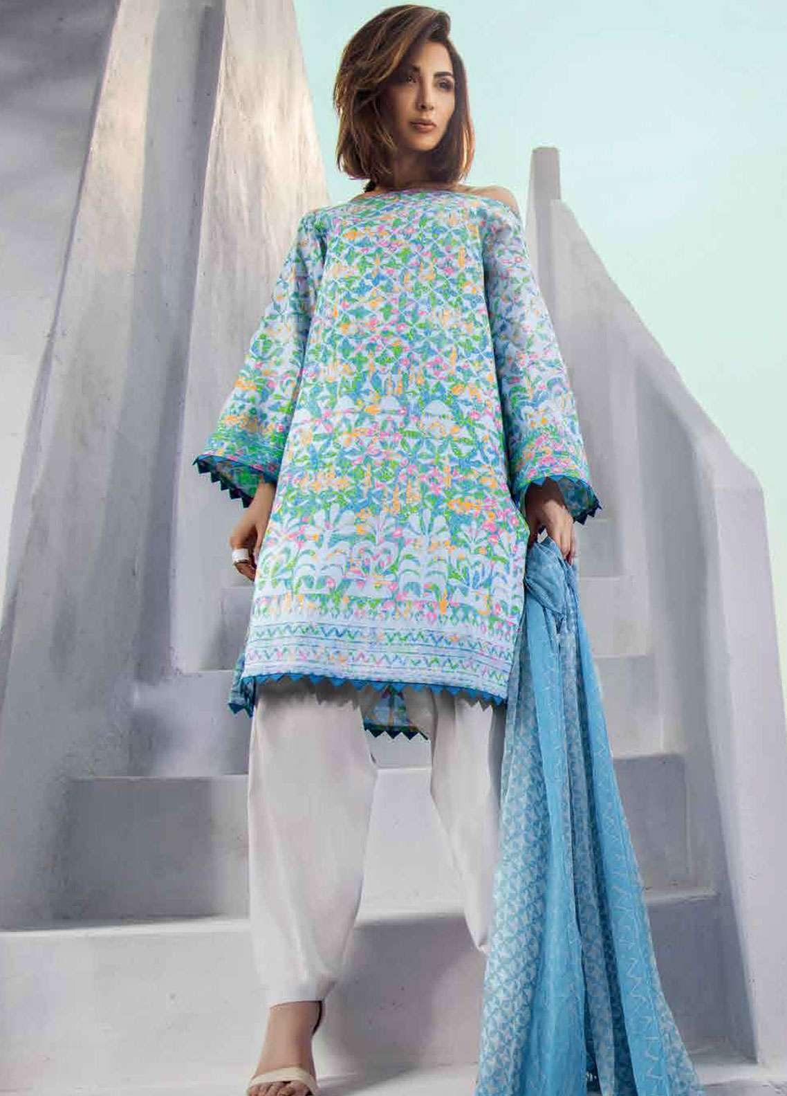 Al Karam Printed Lawn Unstitched 3 Piece Suit AK19L SS-16.1-19 Blue - Spring / Summer Collection