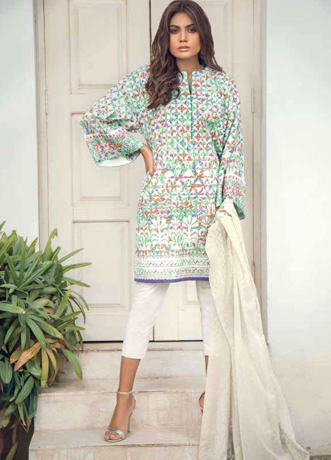 Al Karam Printed Lawn Unstitched 3 Piece Suit AK19L SS-16.1-19 Purple - Spring / Summer Collection