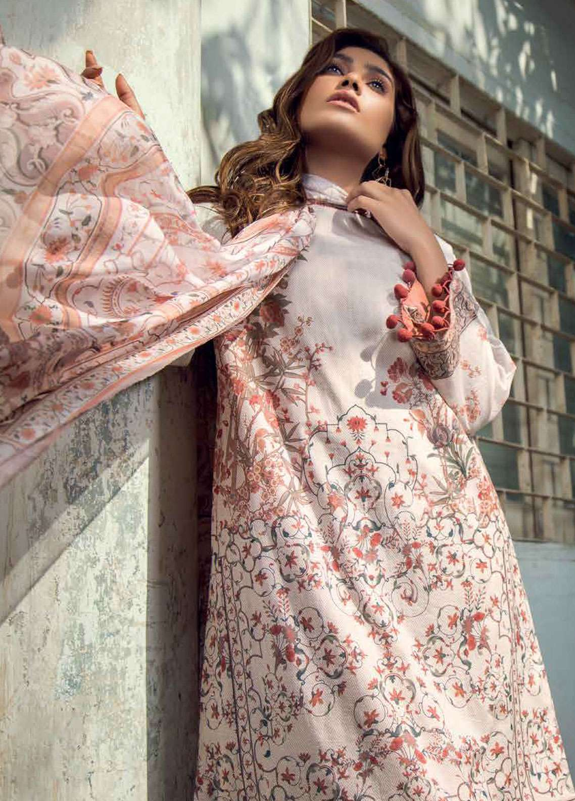 Al Karam Printed Lawn Unstitched 3 Piece Suit AK19L SS-21-19 Peach - Spring / Summer Collection