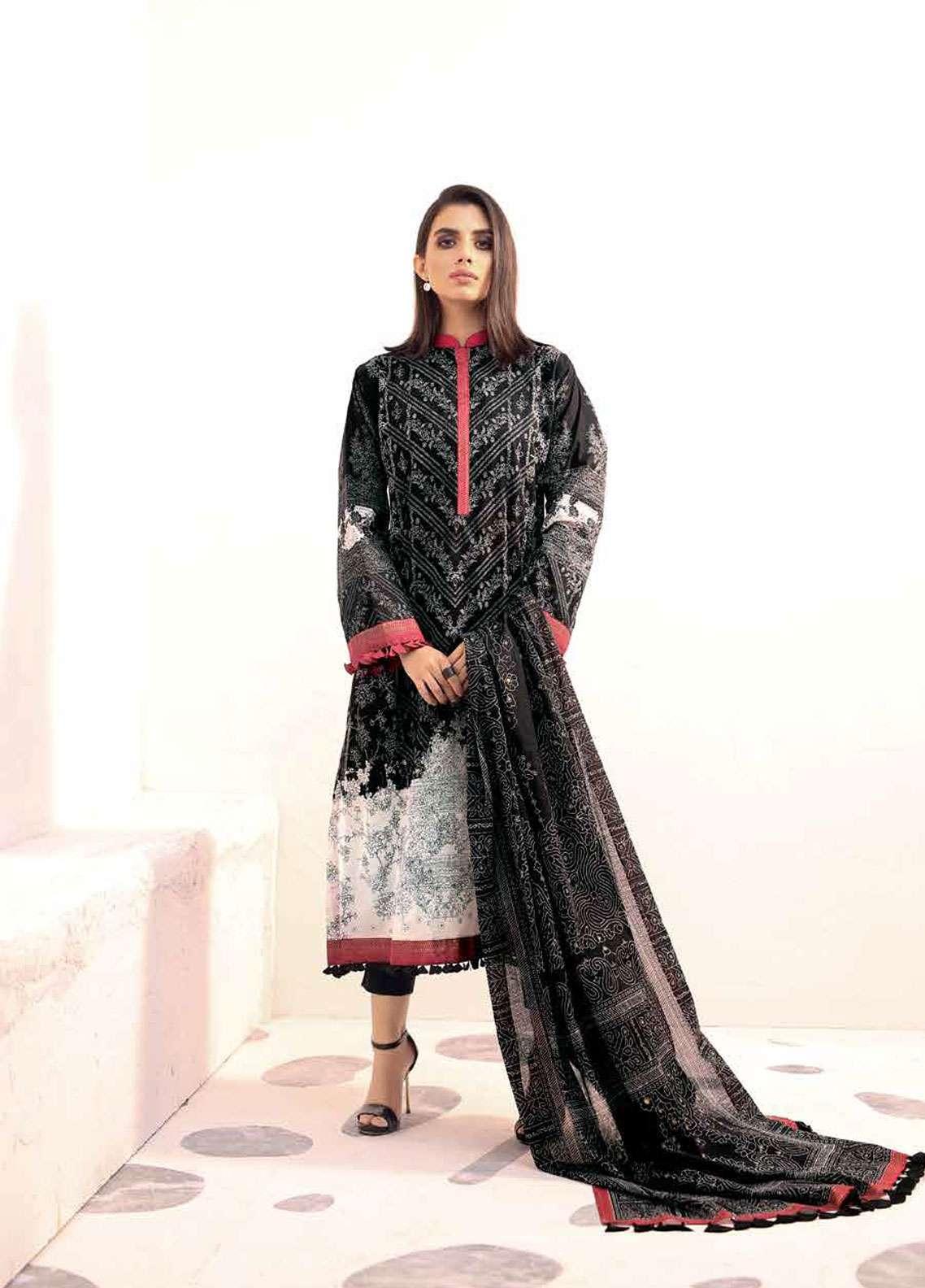 Al Karam Printed Lawn Unstitched 3 Piece Suit AK19L SS-23-19 Black - Spring / Summer Collection