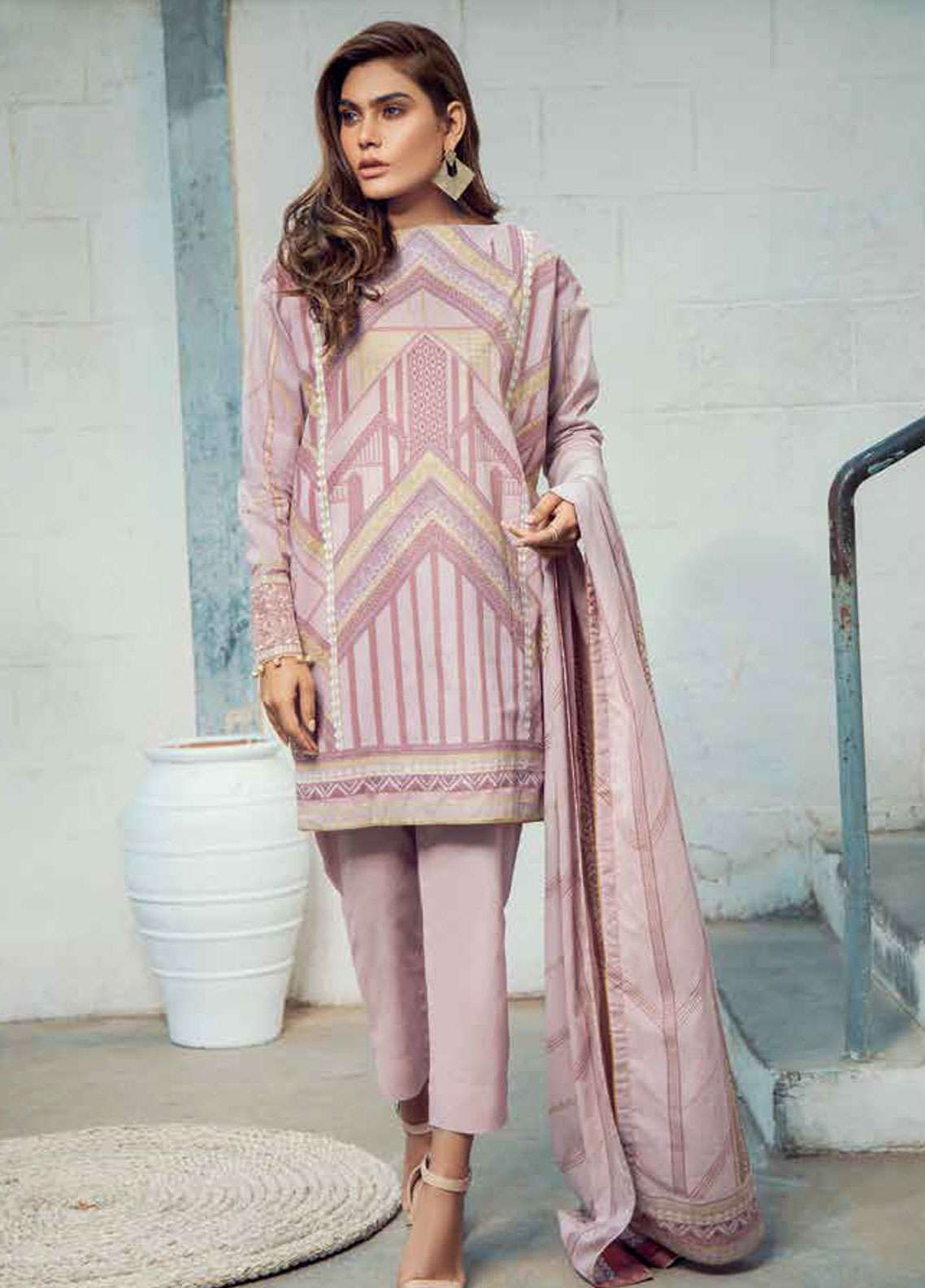Al Karam Embroidered Lawn Unstitched 3 Piece Suit AK19L SS-24-19 Pink - Spring / Summer Collection