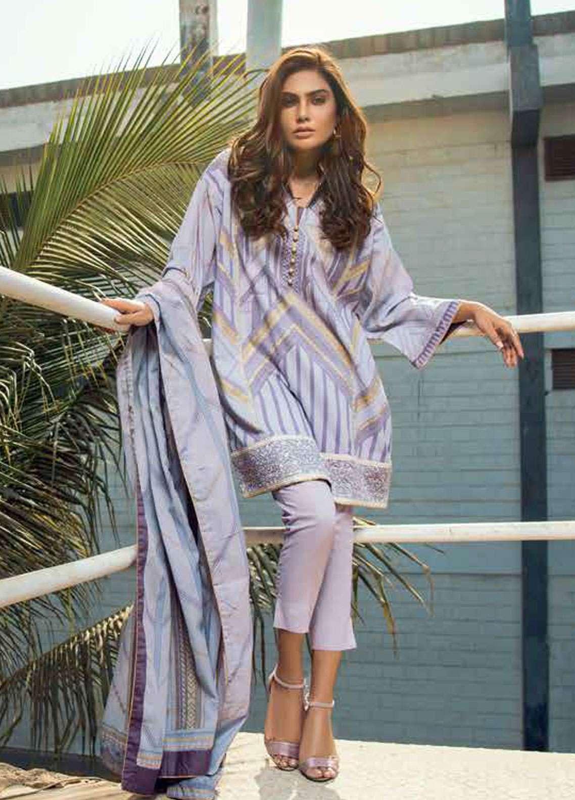 Al Karam Embroidered Lawn Unstitched 3 Piece Suit AK19L SS-24-19 Purple - Spring / Summer Collection