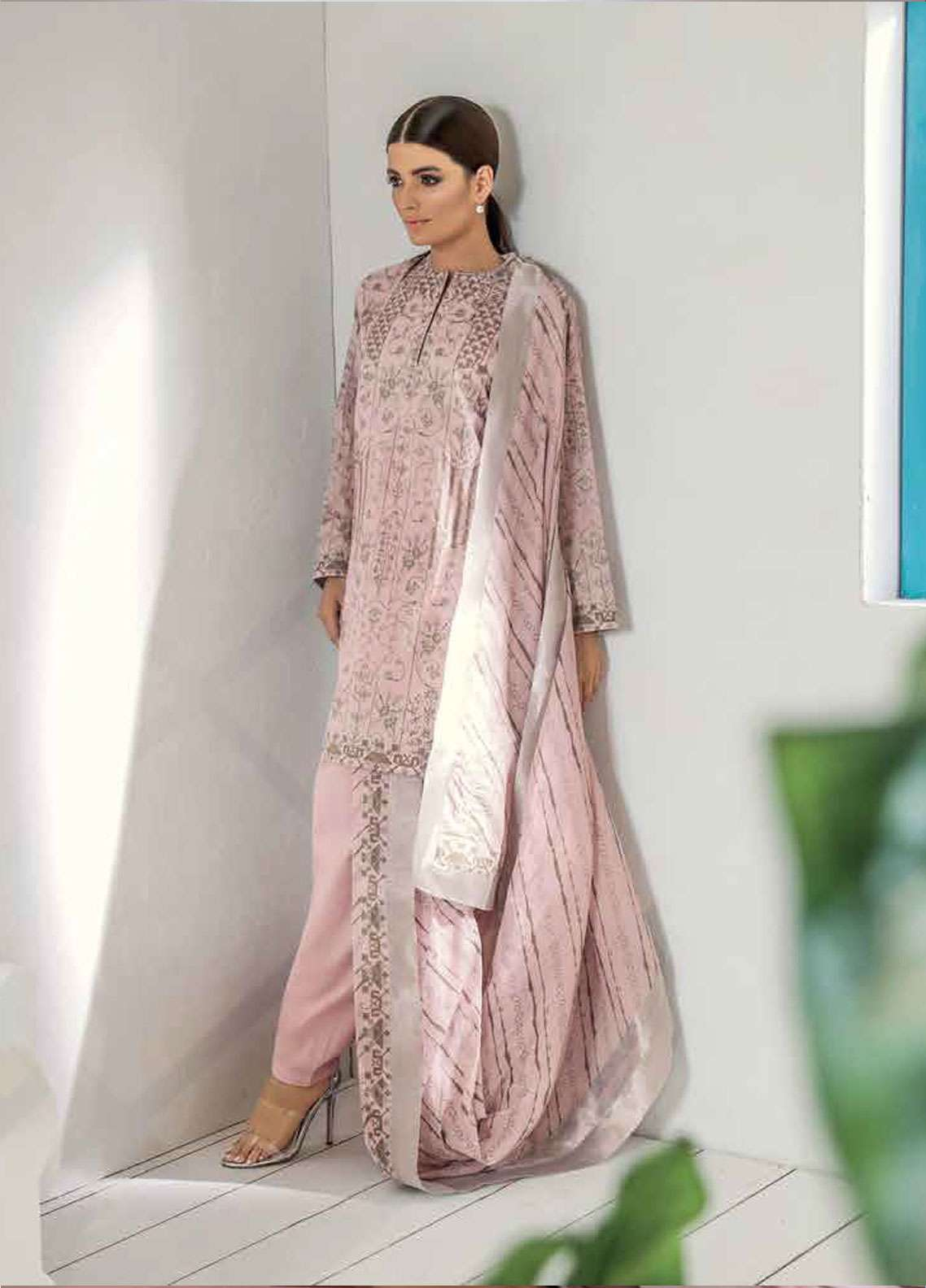 ed19f97e20 Al Karam Printed Lawn Unstitched 3 Piece Suit AK19L SS-25-19 Pink - Spring  / Summer Collection