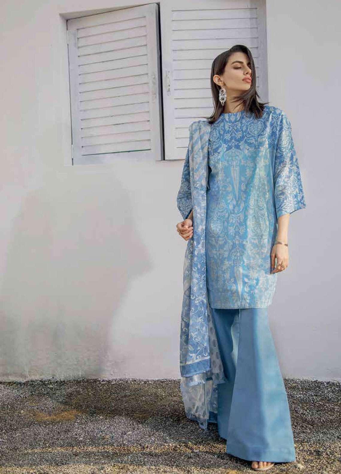 Al Karam Printed Lawn Unstitched 3 Piece Suit AK19L SS-26-19 Blue - Spring / Summer Collection