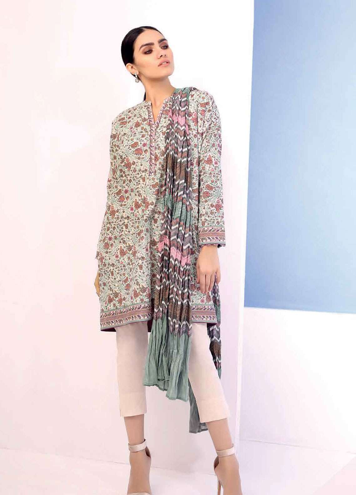 ad3671028e Al Karam Printed Lawn Unstitched 3 Piece Suit AK19L SS-28.1-19 Green -  Spring / Summer Collection