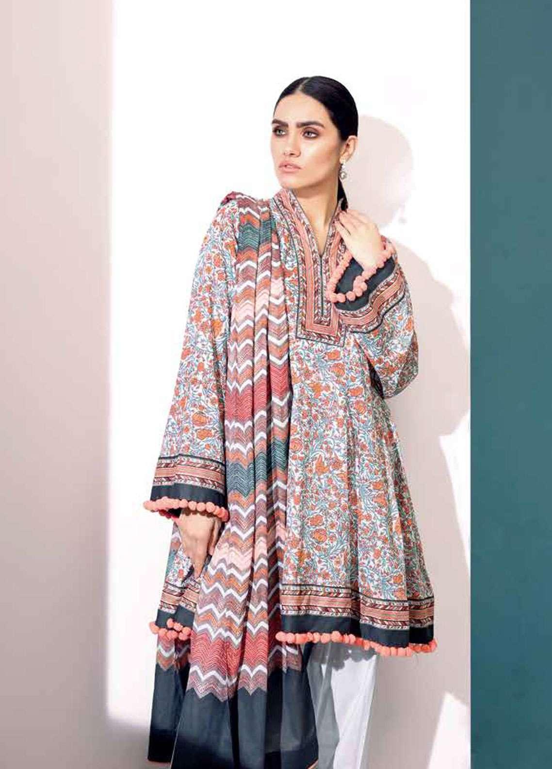 48a387596e Al Karam Printed Lawn Unstitched 3 Piece Suit AK19L SS-28.1-19 Orange -  Spring / Summer Collection