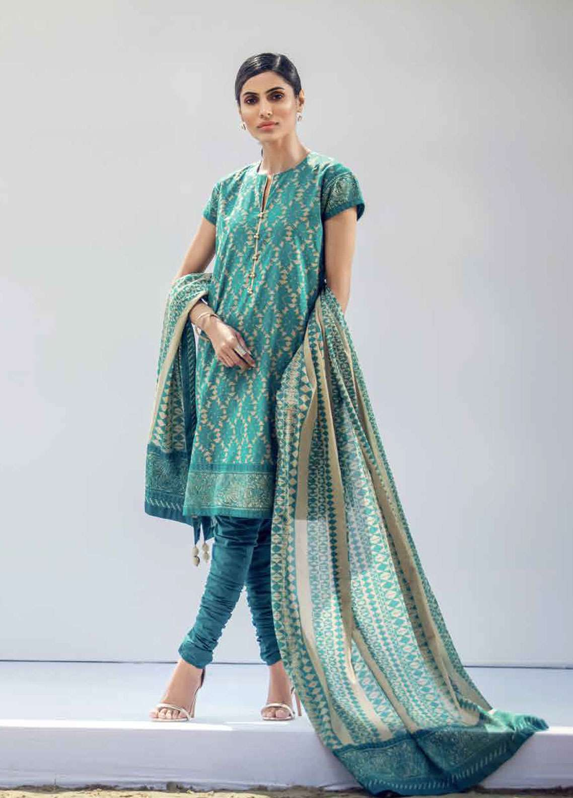 e49740762e Al Karam Printed Lawn Unstitched 3 Piece Suit AK19L SS-31.1-19 Turquoise -  Spring / Summer Collection