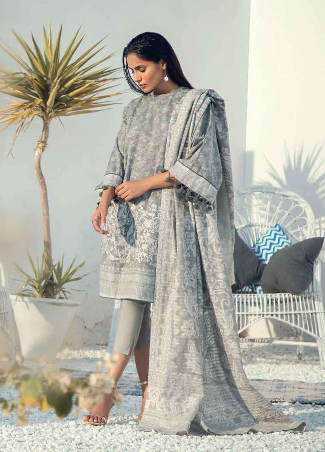 c49653677e Al Karam Embroidered Lawn Unstitched 3 Piece Suit AK19L SS-4.1-19 Grey -  Spring / Summer Collection