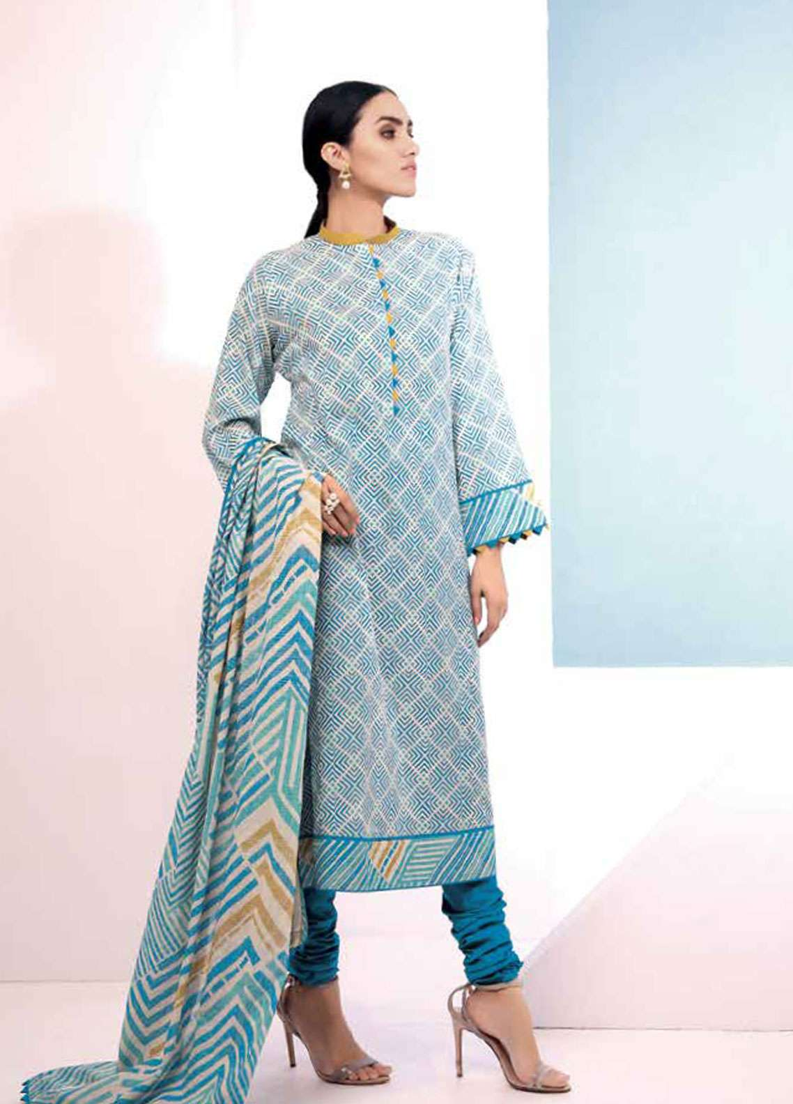 Al Karam Embroidered Lawn Unstitched 2 Piece Suit AK19L SS-48.1-19 Blue - Spring / Summer Collection