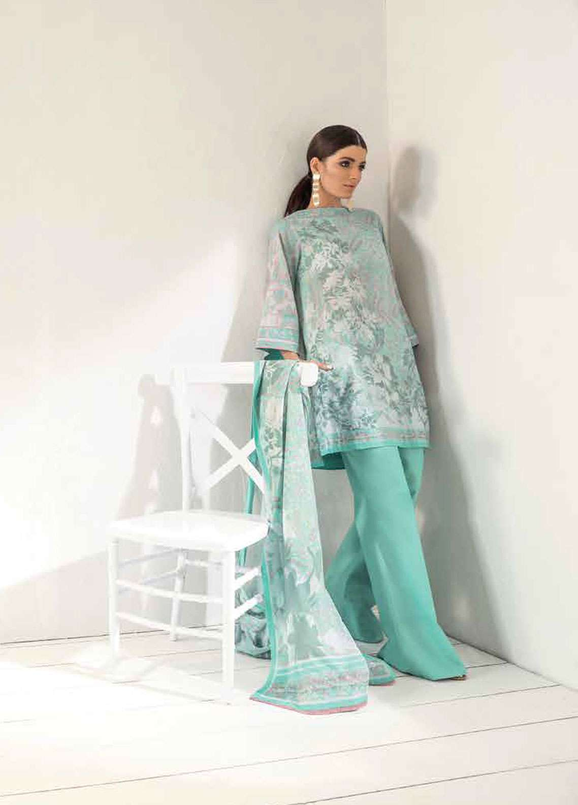 Al Karam Printed Lawn Unstitched 2 Piece Suit AK19L SS-52-19 Green - Spring / Summer Collection