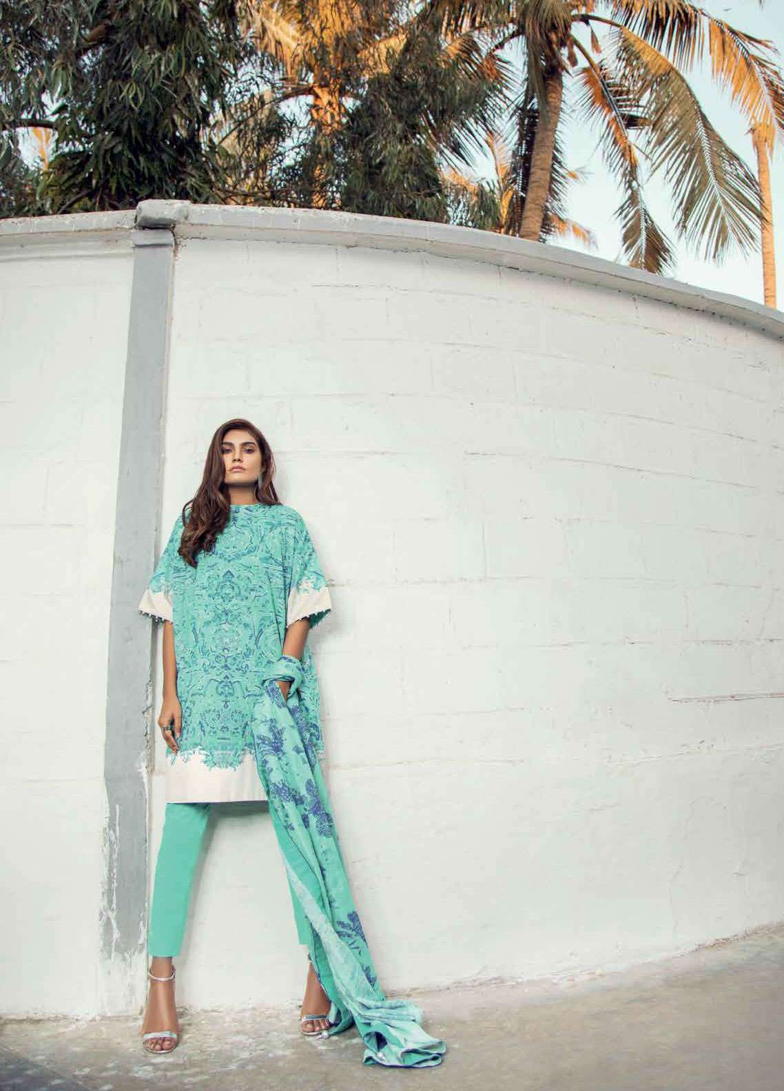 Al Karam Printed Lawn Unstitched 2 Piece Suit AK19L SS-59-19 Sea Green - Spring / Summer Collection