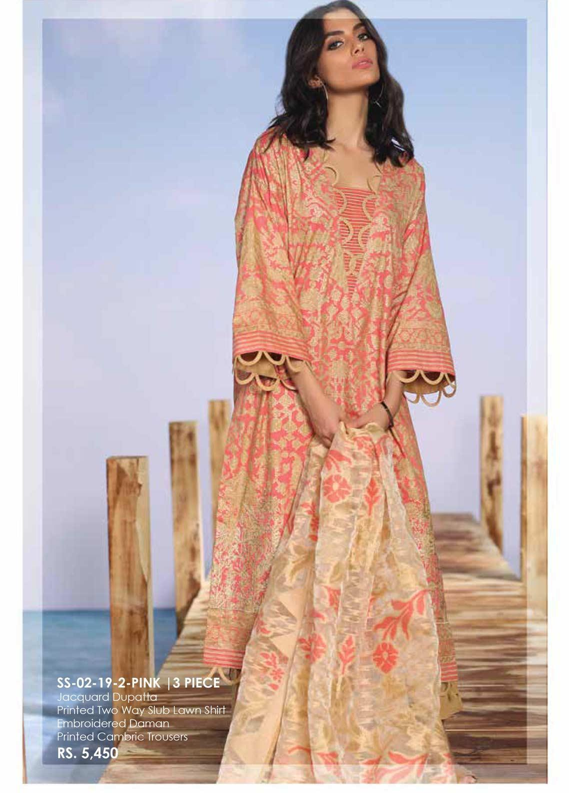 aa9744294a Al Karam Embroidered Lawn Unstitched 3 Piece Suit AK19-L2 02 PINK - Spring /