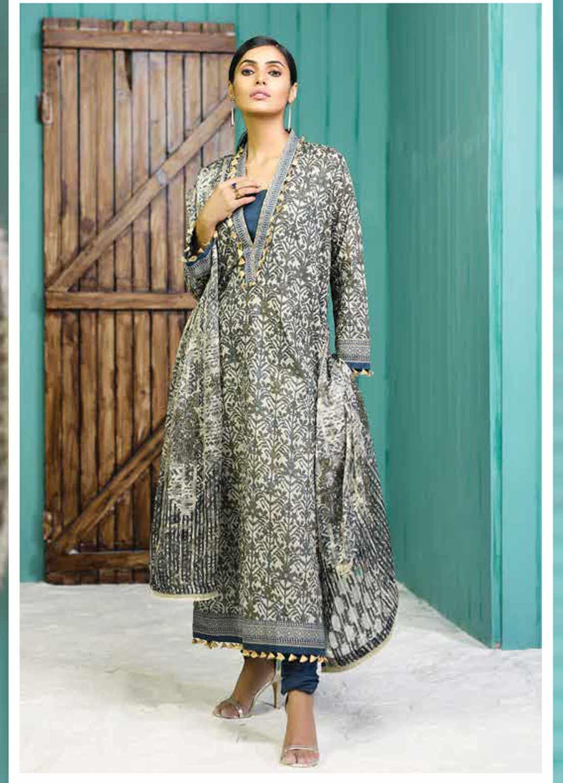 Al Karam Printed Lawn Unstitched 2 Piece Suit AK19-L2 11.1 GREEN - Spring / Summer Collection