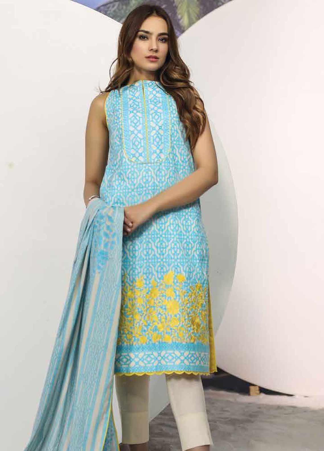 Al Karam Embroidered Lawn Unstitched 2 Piece Suit AK19-L2 12.1 BLUE - Spring / Summer Collection