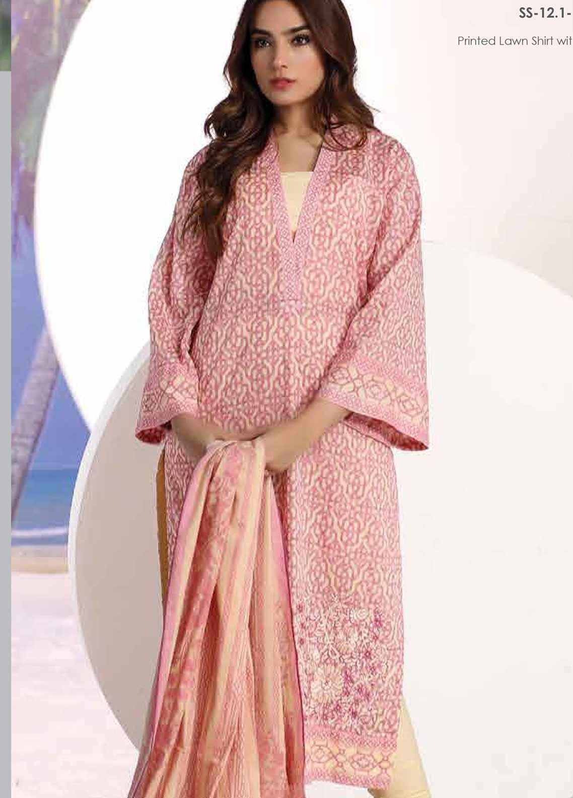 Al Karam Embroidered Lawn Unstitched 2 Piece Suit AK19-L2 12.1 PINK - Spring / Summer Collection
