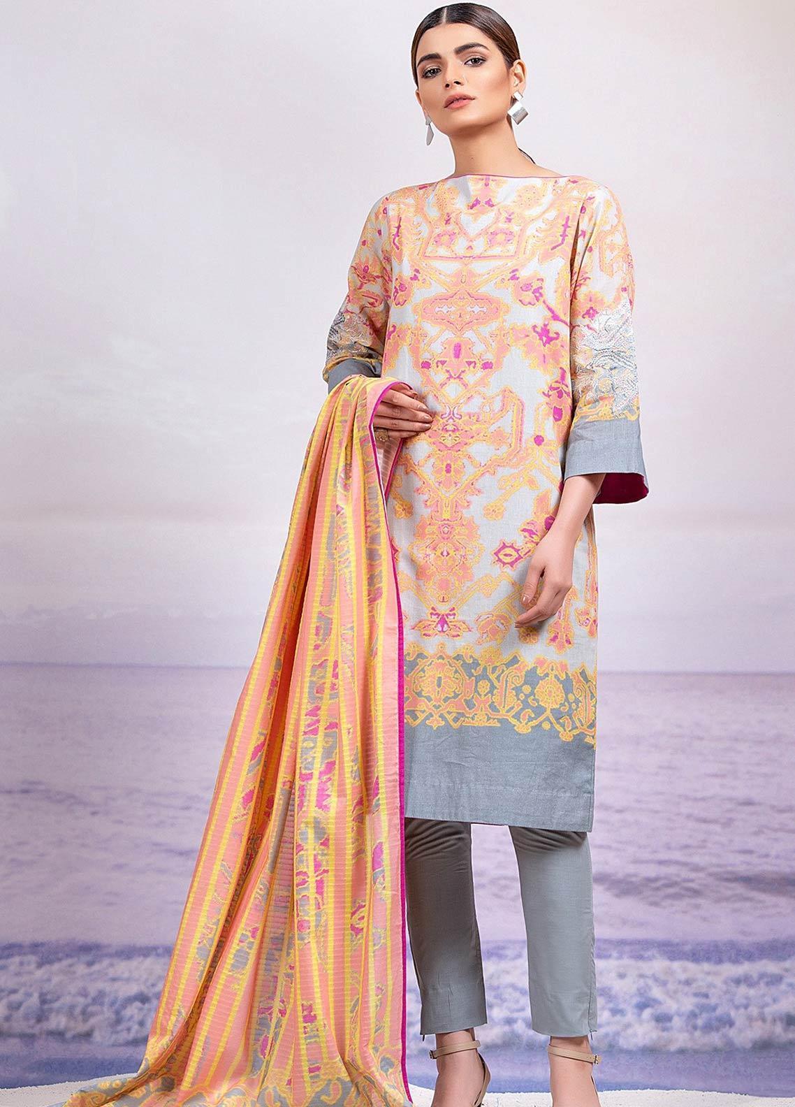 Al Karam Embroidered Lawn Unstitched 2 Piece Suit AK19-L2 13 ORANGE - Spring / Summer Collection