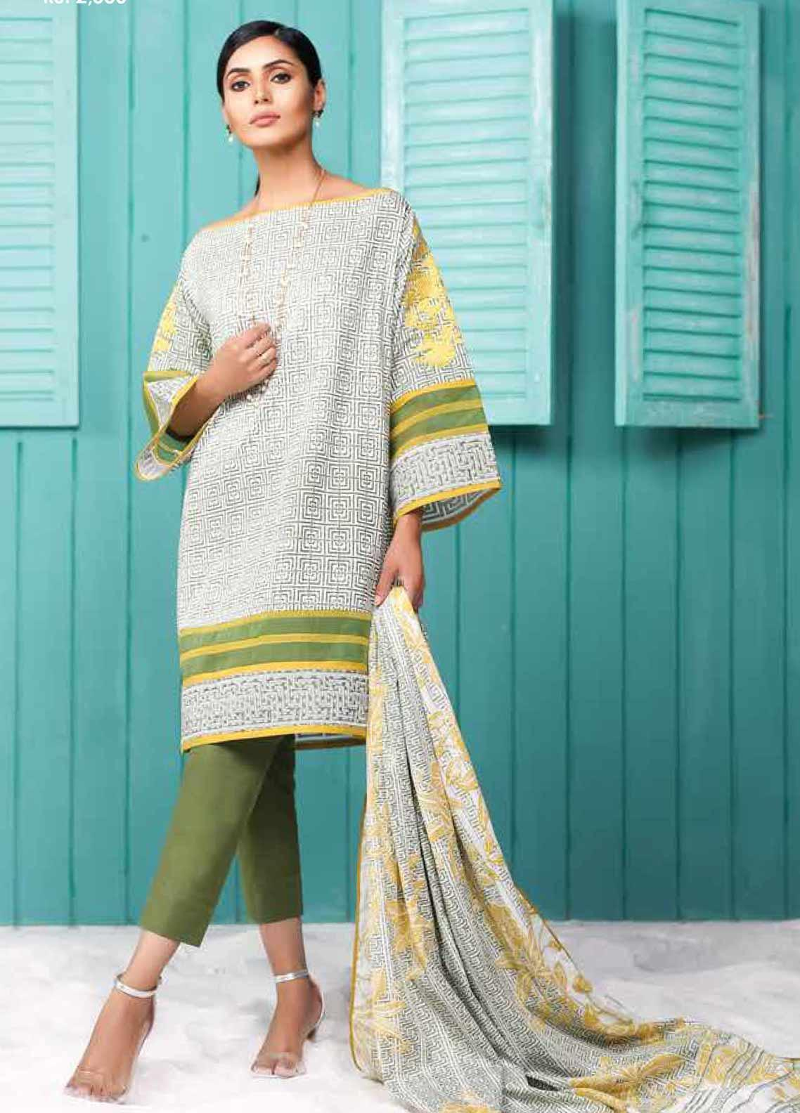 Al Karam Embroidered Lawn Unstitched 2 Piece Suit AK19-L2 13.1 GREEN - Spring / Summer Collection