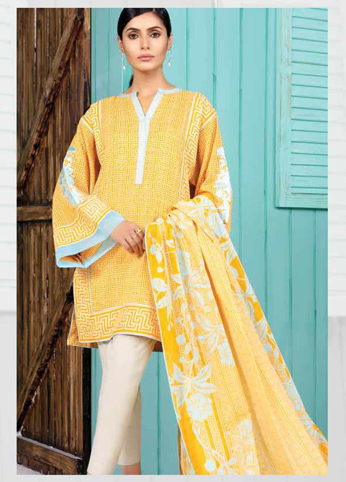 Al Karam Embroidered Lawn Unstitched 2 Piece Suit AK19-L2 13.1 YELLOW - Spring / Summer Collection