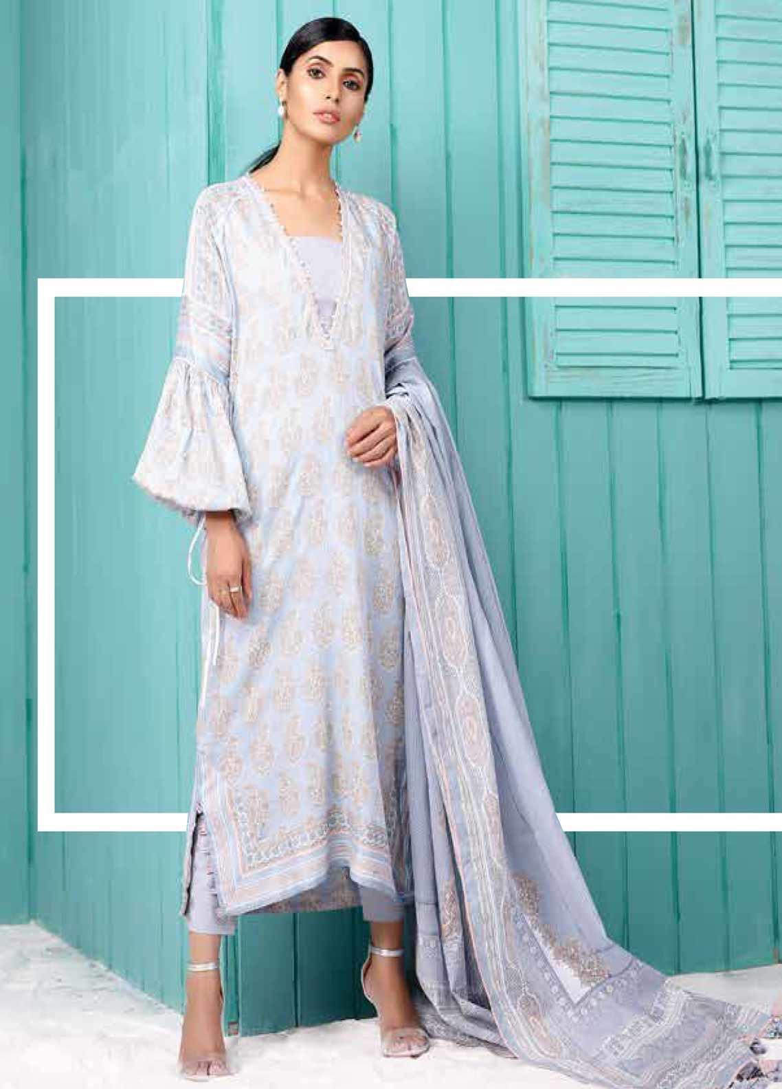 Al Karam Printed Lawn Unstitched 2 Piece Suit AK19-L2 15.1 GREY - Spring / Summer Collection