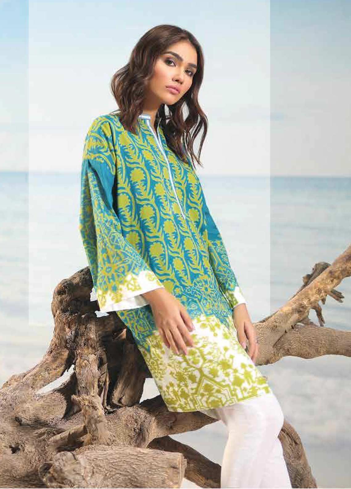 Al Karam Printed Lawn Unstitched 2 Piece Suit AK19-L2 18 GREEN - Spring / Summer Collection