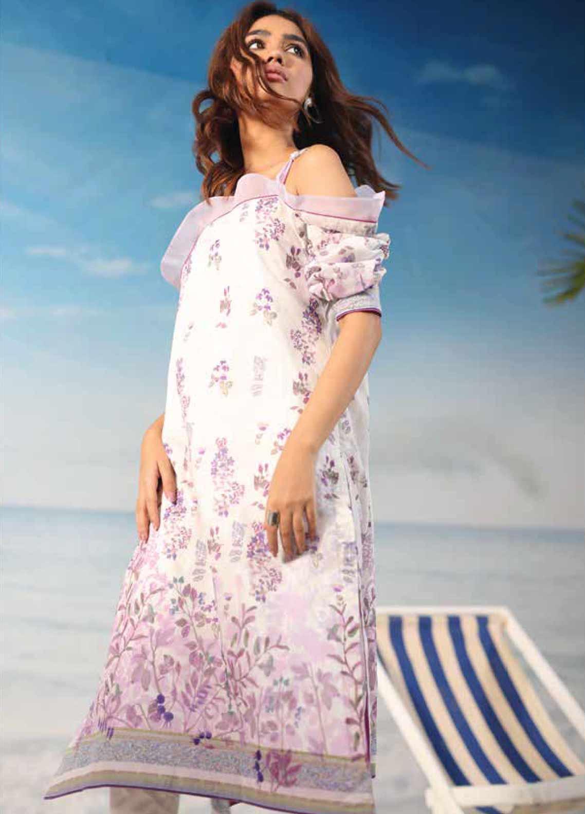 Al Karam Printed Lawn Unstitched 2 Piece Suit AK19-L2 19 LILAC - Spring / Summer Collection