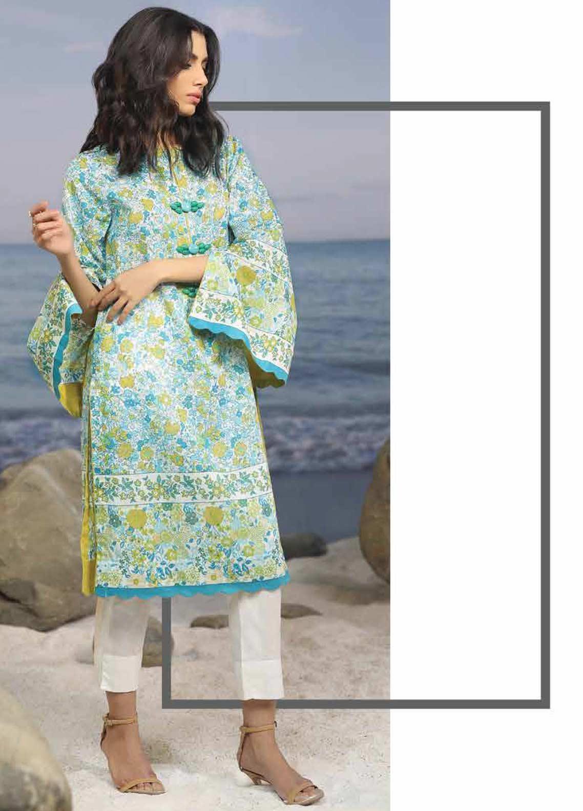 Al Karam Printed Lawn Unstitched 2 Piece Suit AK19-L2 20 BLUE - Spring / Summer Collection