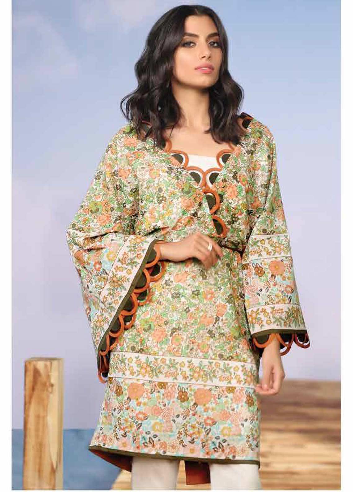 Al Karam Printed Lawn Unstitched 2 Piece Suit AK19-L2 20 GREEN - Spring / Summer Collection