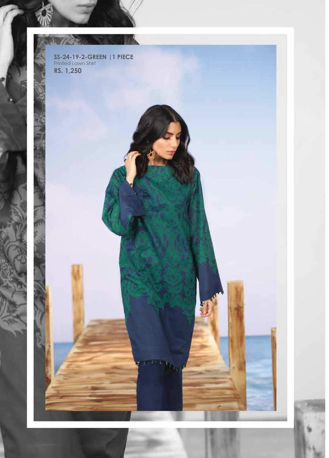Al Karam Printed Lawn Unstitched Kurties AK19-L2 24 GREEN - Spring / Summer Collection