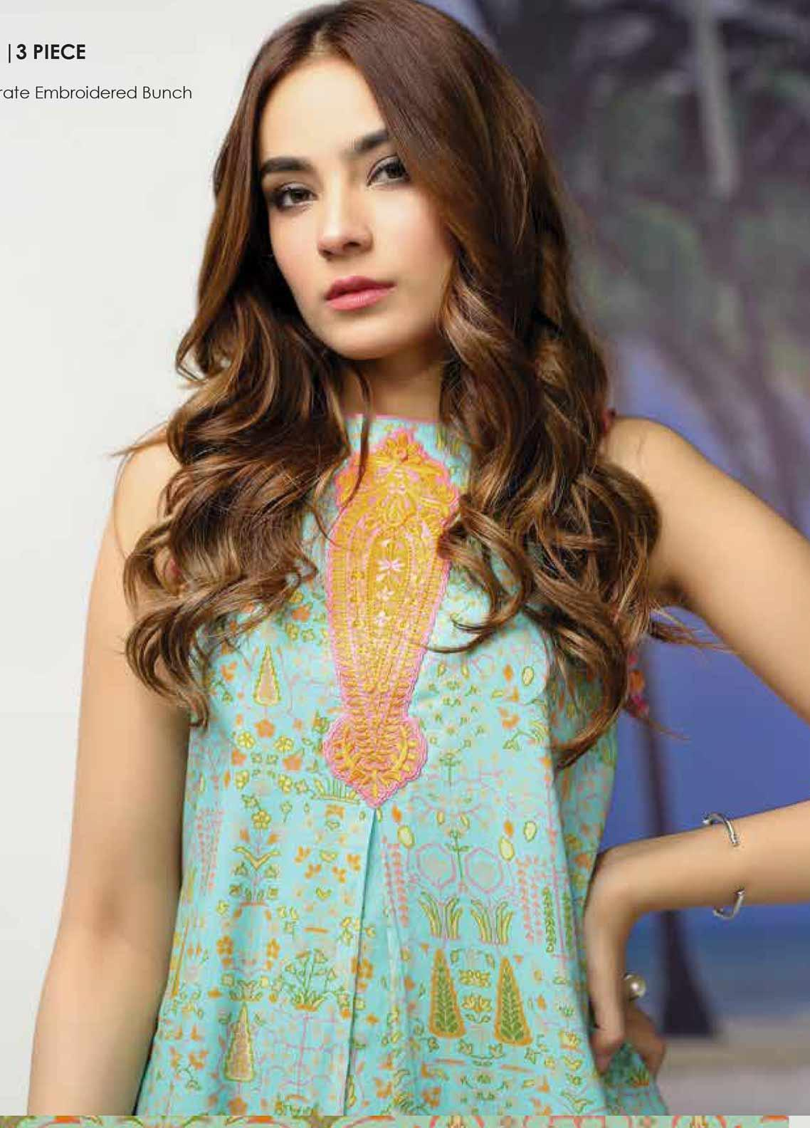 Al Karam Embroidered Lawn Unstitched 3 Piece Suit AK19-L2 3.1 TURQUOISE - Spring / Summer Collection